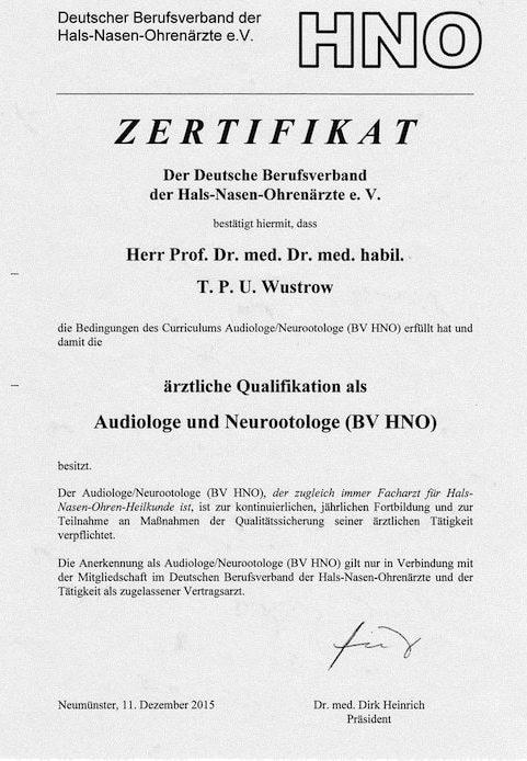 Zertifikat HNO e1554209297856 - Audiologie Hörprüfungen München